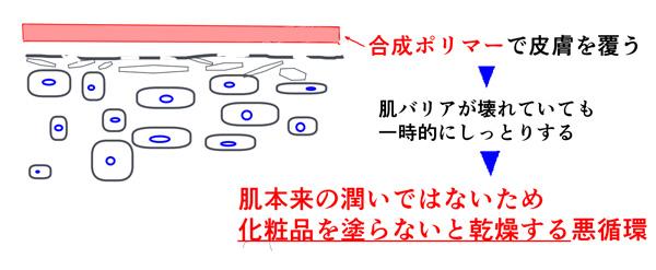 合成ポリマーの肌への影響の説明画像