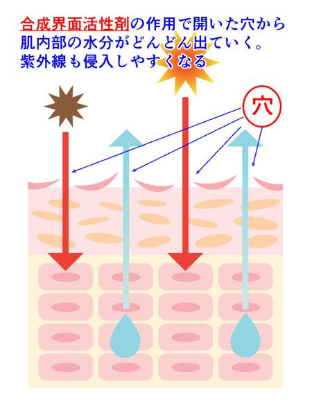 合成界面活性剤の肌への影響の説明画像