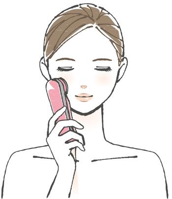 美顔器を使っている女性の画像