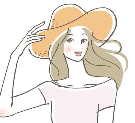 帽子をかぶる女性の画像