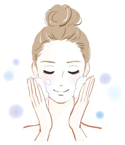 洗顔をする女性のイメージ画像