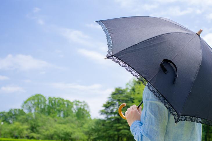 ほうれい線対策に日傘をさす女性の画像