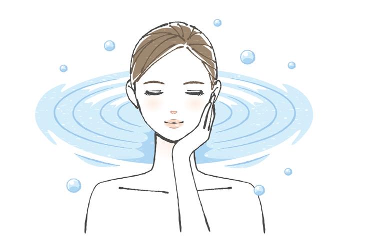 毛穴のたるみを保湿でケアする女性の画像
