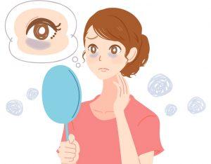 目の下のくぼみに悩む女性の画像